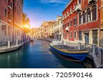 venice street and canal with...   Shutterstock . vector #720590146