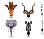 vector polygonal animals set... | Shutterstock .eps vector #720594760