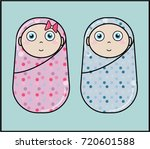 new born twins girl and boy | Shutterstock .eps vector #720601588