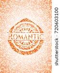 romantic orange mosaic emblem   Shutterstock .eps vector #720603100
