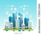 concept of smart city with... | Shutterstock .eps vector #720611464