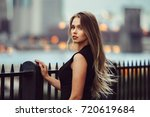 gorgeous young model woman with ... | Shutterstock . vector #720619684