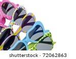 Summer Child Size Sunglasses Variety Border Background. - stock photo