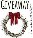 giveaway. christmas wreath... | Shutterstock .eps vector #720636298