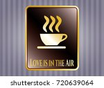 shiny emblem with coffee cup...   Shutterstock .eps vector #720639064