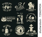 set of halloween celebration... | Shutterstock .eps vector #720639454