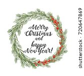 watercolor christmas floral... | Shutterstock . vector #720647869