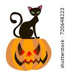 halloween card. cat on the... | Shutterstock .eps vector #720648223