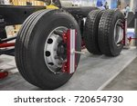 view on new truck wheels and... | Shutterstock . vector #720654730