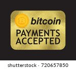 vector gold bitcoin door sign.... | Shutterstock .eps vector #720657850