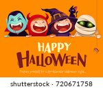 happy halloween party. group of ... | Shutterstock .eps vector #720671758