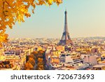 view of eiffel tower at sunset  ... | Shutterstock . vector #720673693