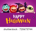 happy halloween party. group of ... | Shutterstock .eps vector #720673744