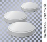 three pills. realistic vector... | Shutterstock .eps vector #720674923