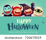 happy halloween party. group of ... | Shutterstock .eps vector #720675019