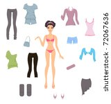 Dress up paper doll - stock vector