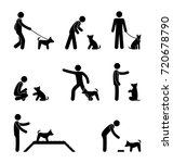 Stock photo man and dog stick figure simple icons set walk training and pet feeding raster drawing 720678790