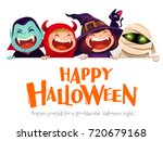 happy halloween party. group of ... | Shutterstock .eps vector #720679168