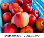 red apples are placed in a blue ... | Shutterstock . vector #720680290