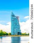 Small photo of RIGA, LATVIA, AUGUST 15, 2016: Hansa bank skyscraper in the latvian capital Riga.