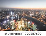 shanghai huangpu river and... | Shutterstock . vector #720687670