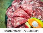 raw beef slice for bbq  japan...   Shutterstock . vector #720688084