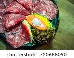 raw beef slice for bbq  japan...   Shutterstock . vector #720688090