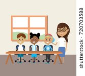 teacher woman educated the... | Shutterstock .eps vector #720703588
