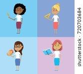 set teacher woman with... | Shutterstock .eps vector #720703684