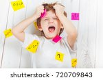 crying child with question... | Shutterstock . vector #720709843