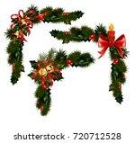 christmas decorations with fir... | Shutterstock . vector #720712528