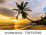 beautiful sunset over the sea... | Shutterstock . vector #720715240