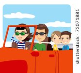 family on a convertible car... | Shutterstock .eps vector #72071881