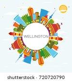 wellington skyline with color... | Shutterstock . vector #720720790