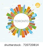 toronto skyline with color... | Shutterstock . vector #720720814