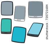 vector set of smartphone and... | Shutterstock .eps vector #720721684