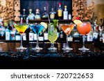 Stock photo cocktails drinks on the bar 720722653