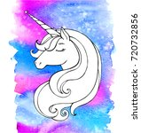 Unicorn Isolated On Watercolor...