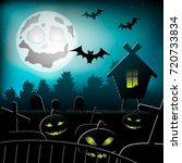 halloween pumpkins and hut in... | Shutterstock .eps vector #720733834