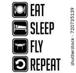 eat sleep fly repeat black sign ... | Shutterstock .eps vector #720735139
