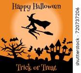 set of halloween objects ... | Shutterstock .eps vector #720737206