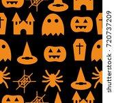 set of halloween objects ... | Shutterstock .eps vector #720737209