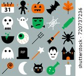 set of halloween objects ... | Shutterstock .eps vector #720737236