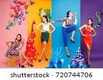 fashion color block four season ... | Shutterstock . vector #720744706
