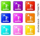 oil pump icons of 9 color set... | Shutterstock . vector #720746674