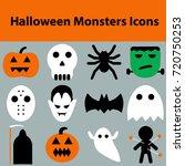 set of halloween objects ... | Shutterstock .eps vector #720750253