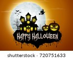halloween background with... | Shutterstock . vector #720751633