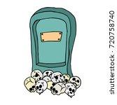 tombstone on skulls. tombstone... | Shutterstock .eps vector #720758740