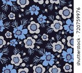 hand drawn blue flower seamless ... | Shutterstock .eps vector #720759976