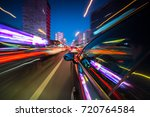 view from side of car moving in ... | Shutterstock . vector #720764584
